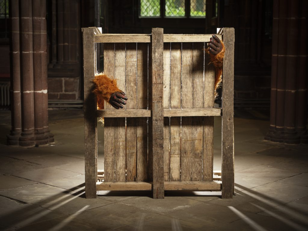 A piece of the Darkest Journey of a Living S exhibition at Chester Cathedral